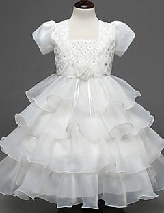 A-line Knee-length Flower Girl Dress-Organza / Satin / Polyester Short Sleeve
