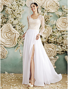 Sheath / Column Wedding Dress - Glamorous & Dramatic See-Through Wedding Dresses Floor-length Queen Anne Chiffon / Lace withAppliques /