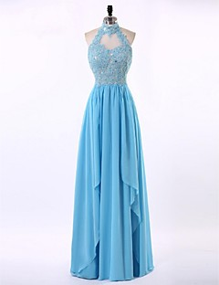 Formal Evening Dress-Sky Blue Sheath/Column High Neck Floor-length Chiffon / Lace