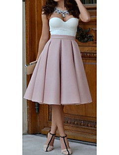 Women's Solid Pink / Red / Black Skirts,Casual / Day Knee-length
