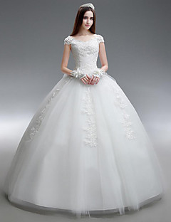 Princess Wedding Dress-White Floor-length Scoop Organza / Satin