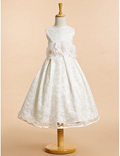 Lanting Bride ® A-line Tea-length Flower Girl Dress - Lace Sleeveless Scoop with Bow(s) / Flower(s) / Lace