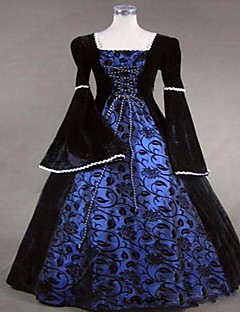 One-Piece/Dress Gothic Lolita Steampunk® / Victorian Cosplay Lolita Dress Blue Solid Long Sleeve Long Length Dress For WomenSatin / Lace