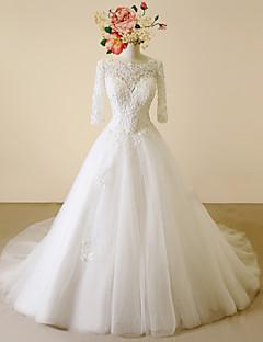 Vestido de Noiva-Linha A Decote em U Cauda Capela Renda / Cetim / Tule