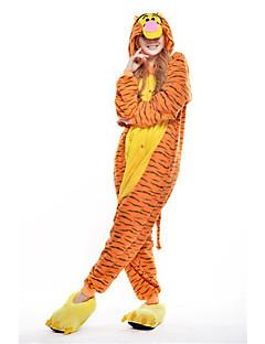 Kigurumi Pyjamas Tiger Trikot/Heldragtskostumer Festival/Højtider Nattøj Med Dyr Halloween Gul Patchwork Polarfleece Kigurumi Til Unisex
