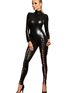 Women's PVC wetlook  Full Sleeve Hollow Out Catsuit Leather Jumpsuit