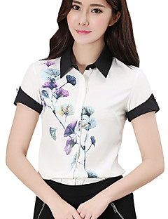 Blommig Kortärmad Skjorta Kvinnors Tröjkrage Polyester