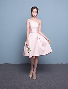 Vestito da damigella-Rosa chiaro Fasciante Monospalla Corto/mini Raso