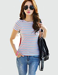 Vrouwen Vintage Zomer T-shirt,Casual/Dagelijks Gestreept Ronde hals Korte mouw Rood / Zwart Katoen Medium