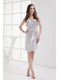 Cocktail Party Dress-Silver Sheath/Column Strapless Knee-length Charmeuse