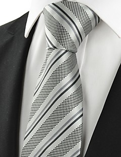 KissTies Men's Striped Grey Black Microfiber Tie Necktie For Wedding Party Holiday With Gift Box
