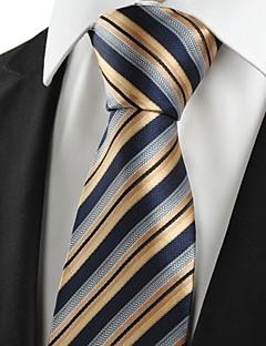 KissTies Men's Striped Golden Black Microfiber Tie Necktie For Holiday With Gift Box