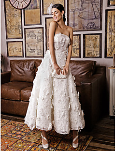 Lanting A-line Wedding Dress-Ivory Ankle-length Sleeveless Lace