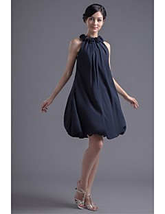 Lanting Bride® Short / Mini Chiffon Bridesmaid Dress A-line Jewel with Flower(s)