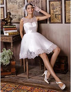 웨딩 드레스 A 라인 무릎 길이 스트랩