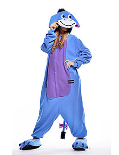 Kigurumi Pyjamas New Cosplay® Æsel Trikot/Heldragtskostumer Festival/Højtider Nattøj Med Dyr Halloween Blå Patchwork Polarfleece Kigurumi