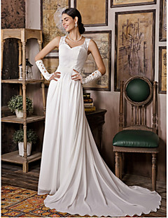 Sheath/Column Wedding Dress - White Sweep/Brush Train V-neck Chiffon / Satin