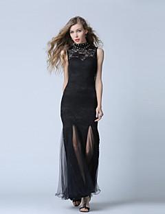포멀 이브닝 드레스-블랙 트럼펫/머메이드 발목 길이 하이 넥 레이스 / 튤