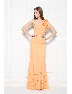 저녁 정장파티 드레스-오렌지 트럼펫/머메이드 바닥 길이 원 숄더 쉬폰
