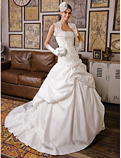 Lanting Bride Ball Gown Petite / Plus Sizes Wedding Dress-Chapel Train Strapless Lace / Satin