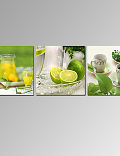 VISUAL STAR®3 Panel Lemon Fruit Canvas Prints Kitchen Room Decor Canvas Wall Art Ready to Hang