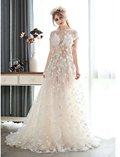 A-line Wedding Dress-Court Train Jewel Chiffon / Lace / Tulle
