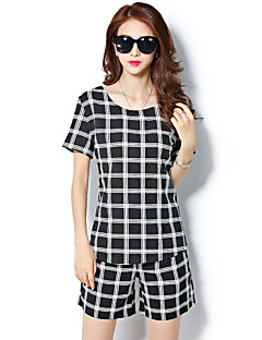 Women's Plaid White / Black Set,Round Neck Short Sleeve