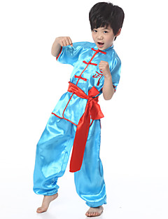 Performance Outfits Children's Performance Satin Sash/Ribbon 3 Pieces Blue / White / Yellow Folk Dance Short Sleeve Pants / Top / Belt