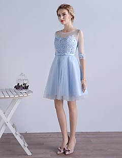 Cocktail Party Dress-Sky Blue A-line Jewel Knee-length Tulle