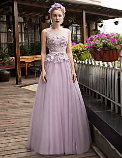 Prom Formal Evening Dress - Beautiful Back A-line Scoop Sweep / Brush Train Lace Tulle withAppliques Beading Bow(s) Crystal Detailing