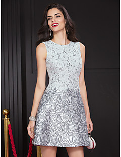 Cocktail Party Dress A-line Jewel Short/Mini Lace / Polyester