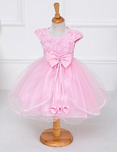 A-line Knee-length Flower Girl Dress - Organza / Stretch Satin Short Sleeve Jewel with