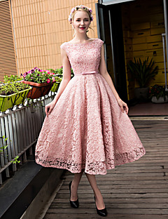 A-Line Scoop Neck Tea Length Lace Tulle Prom Dress with Beading