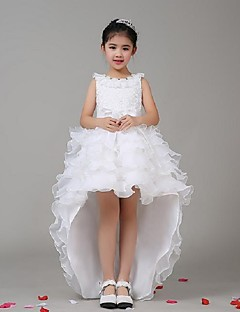 A-line Asymmetrical Flower Girl Dress - Chiffon Stretch Satin Jewel with Bow(s) Cascading Ruffles