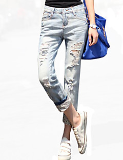 Vardag / Semester Jeans Byxor Kvinnors Microelastisk Polyester