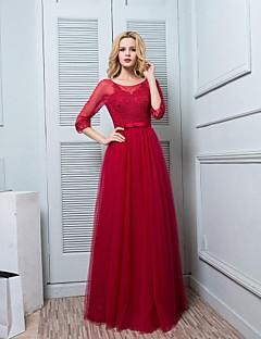 Floor-length Satin / Tulle Bridesmaid Dress - Sheath / Column Scoop with Lace / Sash / Ribbon