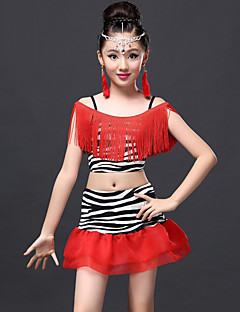Latin Dance Outfits Children's Performance Milk Fiber Tassel(s) 2 Pieces Zebra / Tiger Stripes / Leopard Print Latin Dance Skirt / Top