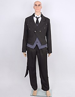 Inspired by Black Butler Sebastian Michaelis Anime Cosplay Costumes Cosplay Suits Solid Black Long SleeveCoat / Top / Shirt / Hakama