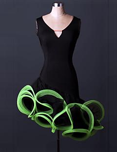 우리는 라틴 댄스 드레스 여자의 성능 스 판 덱 스 draped 드레스해야한다