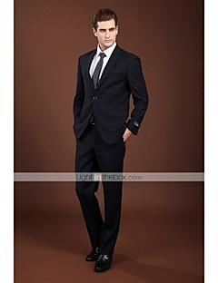 Suits Standard Fit Notch Single Breasted One-button Wool Solid 2 Pieces Dark Blue
