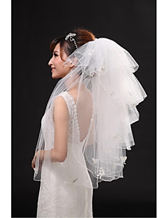 Wedding Veil Six-tier Fingertip Veils Pencil Edge Tulle Beige Beige