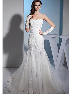 Trumpet/Mermaid Wedding Dress-Court Train Sweetheart Organza / Satin