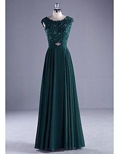 TS Couture® Formal Evening Dress Ball Gown Scoop Floor-length Chiffon / Lace / Charmeuse with Beading / Lace / Pearl Detailing / Ruffles / Sash
