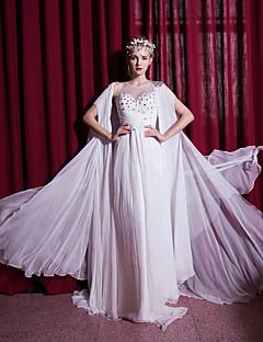 Sheath/Column Wedding Dress-Sweep/Brush Train Scoop Chiffon / Organza