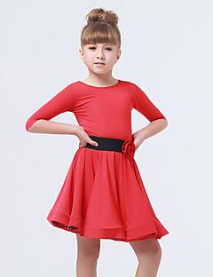 Gyermek-Latin tánc-Ruhák(Sötétlila / Fukszia / Világoszöld / Piros,Spandex / Poliészter,Virág(ok) / Fodrok / Selyemöv/ Szalag)