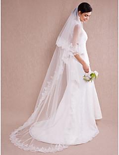 Свадебные вуали Один слой Соборная фата Кружевная кромка 110,24 в (280cm) Органза
