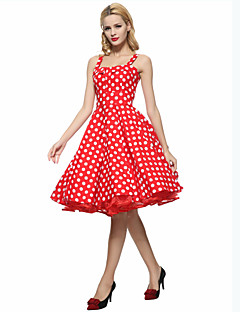 Women's Party/Cocktail Vintage Plus Size / A Line / Skater Dress,Polka Dot Strap Knee-length Sleeveless Blue / Red / White Cotton Summer