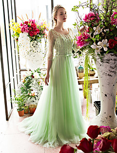 Formal Evening Dress-Sage A-line Scoop Sweep/Brush Train Lace / Tulle