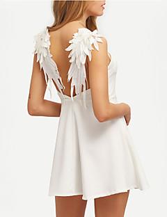 Dámské Sexy A Line Šaty Jednobarevné Ramínka Mini Polyester