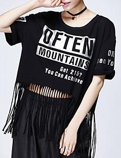 Mulheres Camiseta Decote Redondo Manga Curta Franjas Poliéster Mulheres